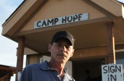 Daryl Rinkles in front of the Camp Hope office. Photo by: Nicholas Arias