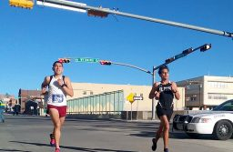 Marco Perez (left) and Ricardo De Santiago  running together as the approach the finish lane. Photo by: Abel Carrillo