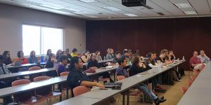 NMSU students and community members attend an on-campus meeting hosted by SOS in February. (Photo courtesy of SOS)