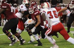 Aggie running back Larry Rose lll moves the ball against the Louisiana-Lafayette Ragin Cajuns at Aggie Memorial Stadium. (NMSU Photo)