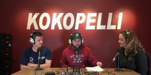 The Stache podcast host Abel Carrillos, center, and Leah Peery, right, chat with NMSU tennis star Sergio Espias in the Kokopelli newsroom Thursday, Oct. 26. (Kokopelli Photo)