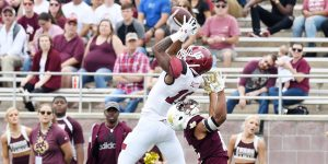 Aggie wide receiver Jaleel Scott goes up for a pass Saturday in a conference game against Texas State in San Marcos. The Aggies would go on to win the game 45–35. Scott posted his third 100-plus yard receiving game of the season. (Photo courtesy of Brendan Maloney)