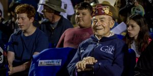 Bataan Death march survivor Paul Ketchum waits for the opening ceremony to start Sunday morning, March 31, 2018, at the 29th Bataan Memorial Death March at White Sands Missile Range. (Photo by Maggie Adams/Kokopelli)