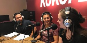 The Stache co-hosts Abel Carillo, left, and Leah Peery, right, interview New Mexico State soccer player Andrea Castaneda, center. (Photo courtesy of NM State Aggies Facebook)