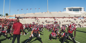 Aggie football players prepare for the opening kickoff against UNM on Saturday, Sept. 15, 2018, at Aggie Memorial Stadium. (Photo by Garrett Tucker/Kokopelli)
