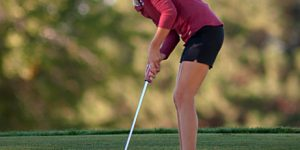 NMSU golfer Dominique Galloway putts the ball Tuesday, Oct. 9, 2018, during the NM State Aggie invitational golf tournament in Las Cruces. Galloway, a junior from Rio Rancho, New Mexico, would go on to win the individual title Wednesday while her team would finish fourth overall out of a field of 16 teams. The tournament win marked the first individual title victory of Galloway's collegiate career. (Photo by Fiona St. Pierre)