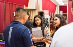 The Career Expo is coordinated by Career Services is one of the largest in the region. It typically hosts over 100 employers in a diverse range of fields and draws in over 2,000 candidates. (Photo courtesy of Career Services)