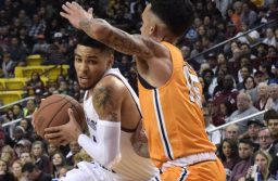 """Aggie guard JoJo Zamora takes the ball into the paint against UTEP in the """"Battle of I-10"""" Friday, Nov. 9, 2018, in the Pan American Center. (Photo by Eli Whitney/Kokopelli.)"""