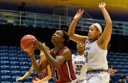 NMSU junior Adenike Aderinto goes up for a layup against Alcorn State during the Florida International Holiday Tournament on Dec. 21.(Photo courtesy of NMSU Athletics)