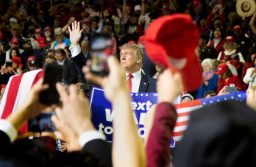 President Trump waves to the crowd in El Paso, Texas, Monday, Feb. 11, 2019, at the El Paso County Coliseum. Trump was there to promote his border wall agenda. (Photo by Denisse Najera)
