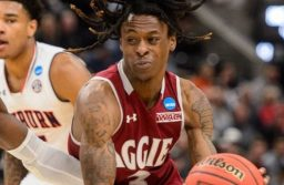 (Trent Nelson | The Salt Lake Tribune) New Mexico State Aggies guard Terrell Brown (3) as Auburn faces New Mexico State in the 2019 NCAA Tournament in Salt Lake City on Thursday March 21, 2019.